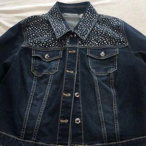 Chico's rhinestone encrusted luxe denim jacket